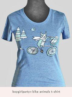 Get comfortable. Super-soft bike animals t-shirt from http://boygirlparty.etsy.com