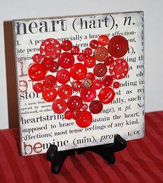 30 Valentines Day Craft Ideas- Button Heart button art, valentine day crafts, diy valentine's day, button crafts, tile, heart art, valentine decorations, scrapbook paper, homemade valentines