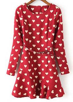 Comfy Long Sleeve Hearts Print A Line Dress sleev heart, heart print, long sleeved skater dress, skater dresses