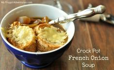 Crock Pot French Onion Soup. Is there anything better then the salty soup, caramelized onions and ooey-gooey cheese?  You won't believe how easy this is to make.