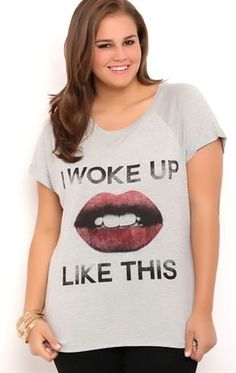 Deb Shops Plus Size High Low Tee Shirt with I Woke Up Like This Screen $10.00