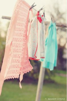 Aprons drying on the clothes line.