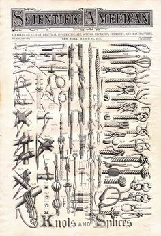 Knots & Splices 1871 Steampunk Victorian Era Nautical Illustration  For Framing. $19.89, via Etsy.