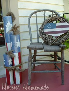 Adorable 4th of July wood craft fireworks ...decorate the front porch :o)