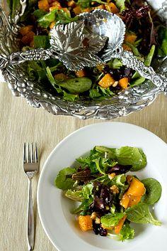 Roasted Butternut Squash Salad with Warm Cider Vinaigrette ~ thebrowneyedbaker.com