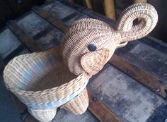 Vintage Elephant Basket by Lauralous on Etsy, $59.00