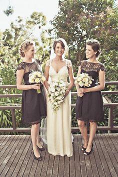 pretty black lace bridesmaids dresses