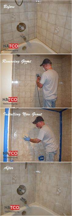 Steps involved for regrouting a tile shower.  Removing grout with a Fein Supercut, Installing new grout.  Before and after pictures.