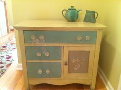 Annie Sloan Chalk Paint hutch with distressed floral stencils created by Jessie Voss of My Table Gallery