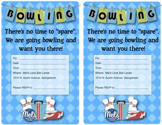 Check out our NEW bowling birthday party invitations.  Printable from our website for FREE!  #BowlingParties #GeorgetownTX