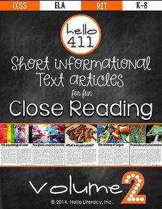 Hello 411: Short Informational Articles for Close Reading - Volume 2 | Hello Literacy | {K-8}