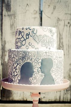 Doodle wedding cake with words and bride & groom silhouettes, in blush pink and grey #casualwedding #weddingcake
