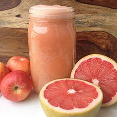 Grapefruit Apple Juice 2 ruby red grapefruits 3 large gala apples 2 inch piece of ginger 1 organic lemon with peel