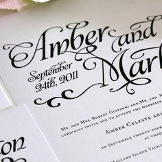 Alluring Script Wedding Invitations Sample in by shineinvitations, $6.50