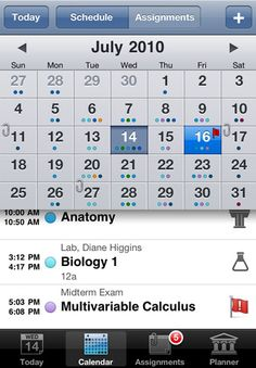 ) this app allows students to organize their class, lab and semester schedules, along with assignments, project deadlines etc.