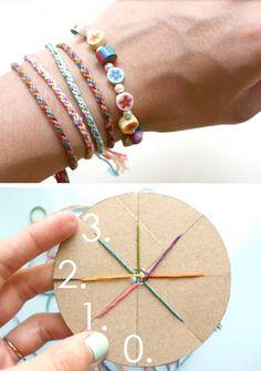 Make friendship bracelets using a circular cardboard loom.