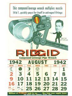 RIDGID Calendar August 1942