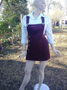 80s Corduroy Overall Skort in Maroon - For Gender Bending Wreck It Ralph