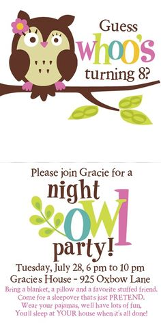 Owl party sleep over theme invite