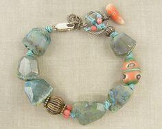 Chunky Blue Banded Agate Aqua Gemstone Bracelet by CharleneSevier #aqua #chunky #gemstone #bracelet