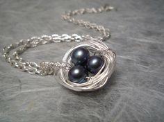Bird Nest Necklace Black Freshwater Pearls by MidnightBlueJewels, $25.00