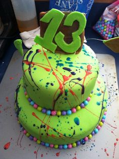 Brianna's 13th birthday Splatter cake!
