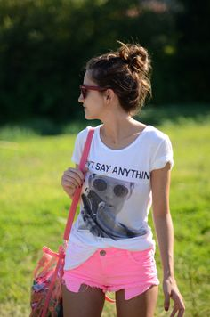 White Tshirt with pink neon shorts