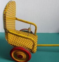 Vintage J Chein Tin Litho Pull Toy for Dolls