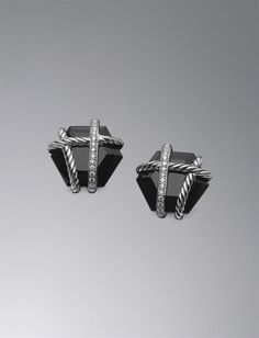 david yurman cable wrap earrings, black onyx