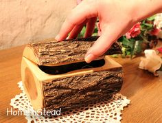 Rustic Log Jewelry Box Small Chest Band Saw Box