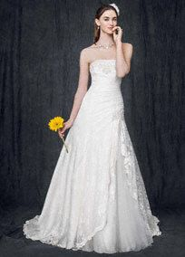 Strapless Lace A-line Gown with Side Split