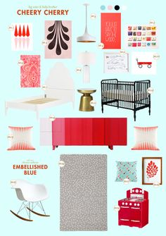 red baby nursery inspiration board