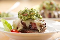 Bacon Wrapped Mushroom Cheeseburger with Guacamole