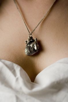 "Anatomical Heart Necklace in antique silver on a 18"" Chain (Original Design & Made in NYC) tiwib dl quantity"