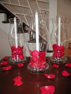 centerpiec featur, cheap centerpiece ideas, cheap centerpieces ideas, hurricane centerpiece, candles, hurrican glass, centerpiec idea, rose petals, dollar store centerpiece ideas
