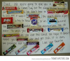 Original father's day gift…Love this.  I saw this same card being used for teacher gifts and they were so cute!