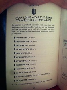 How long would it take to watch Doctor Who?; 362 hours, 53 minutes, and 54 seconds! So if you didn't sleep for 15 days straight and watched it nonstop for those days, you'd do it. But you'd also probably be in the hospital due to lack of sleep, food, and your bladder would be in rough shape.