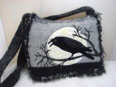 Felted Purse Handbag Raven and Moon messenger by FeltedFantasies,