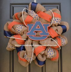 Auburn Burlap Wreath  Auburn Wreath  Burlap by CreationsbySaraJane, $95.00