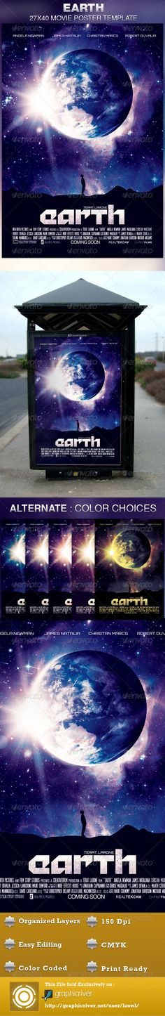 This Earth Movie Poster Template is sold exclusively on graphicriver, it can be used for your movie promotion, event marketing, church movie night, sermon marketing etc. In this package you'll find 1 Photoshop file. All text and graphics in the file are editable, color coded and simple to edit. The file also has 6 one-click color options.  $6.00
