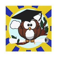 Graduating Owl w/ Blue & Gold School Colors Custom Invitation - #classof #Graduation #graduate #wiseowl #cartoonowl