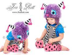 Handmade Crochet Elly the Cherry Cat Monster Hat for boys, girls, babies, kids and adults    www.irarott.com