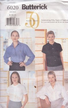 Butterick 6020 celebrating 50 years of Fashion ellen Tracy Blouses in 1999 and 1949 style. Peter pan collar Size 8-10-12