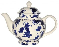 Emma Bridgewater has designed a new abstract pattern that incorporates an outline map of the British Isles. Entitled 'Great Britain' this bold blue patriotic design is hand sponged onto each earthenware piece and cleverly tricks the eye so that it is only upon a second glance that the map becomes obvious.