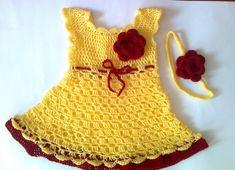Vestido de bebé vestido y diadema en amarillo y por paintcrochet, $40.00