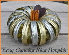Want to have beautiful seasonal crafts on display in your home, but think you don't have the time? This autumn decoration literally takes about 3 minutes to make and most people would never guess that it's made of canning rings OR that you made it yourself!
