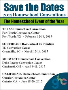 2015 Great Homeschool Homeschool Convention  Dates and Locations