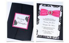 Beautiful Black & Fuchsia damask wedding invitation