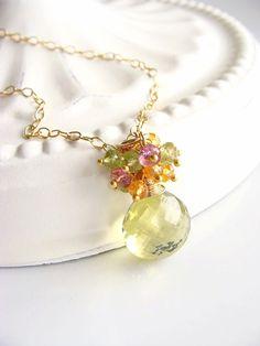 Lemon Quartz Necklace Cluster Necklace Pink by beachjewels72, $125.00