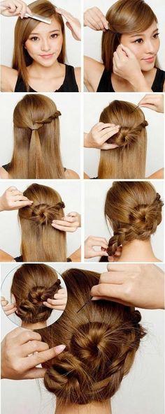 cute Braided Updo Hairstyles For Medium Hair tutorial